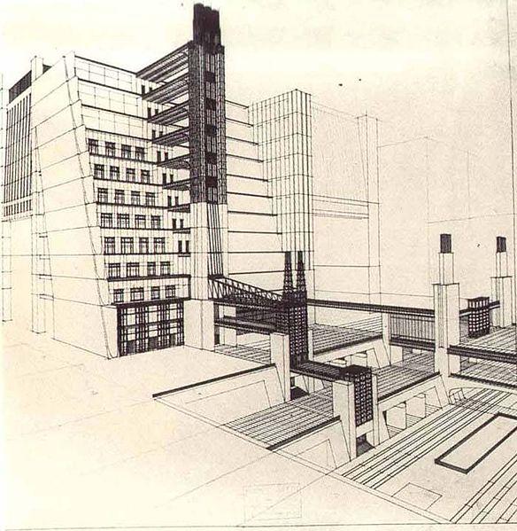Casa a gradinata con ascensori dai quattro piani stradali, 1914.