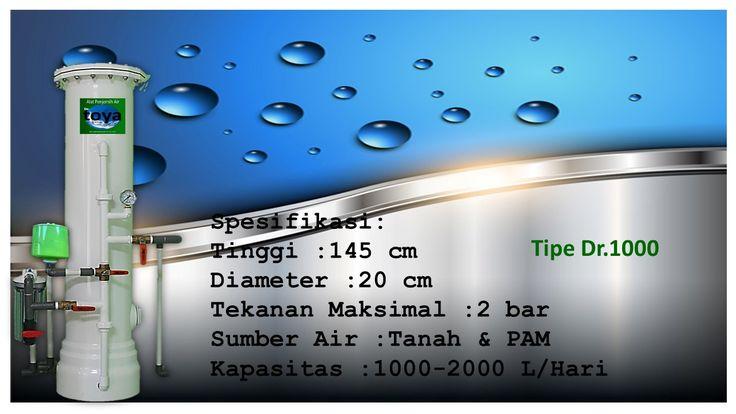 http://toyawater.com  Spesifikasi Tinggi :145cm Diameter :20cm Tekanan Maksimal :2bar Sumber Air :Tanah Dan PAM Kapasitas :1000-2000L/Hari  Filter PENYARING air jenis ini di desain khusus untuk anda keluarga kecil yang memiliki permasalahan airnya ringan.Khusus untuk filter air ini di sarankan di pasang setelah toren ,agar umur media filter lebih tahan lama.