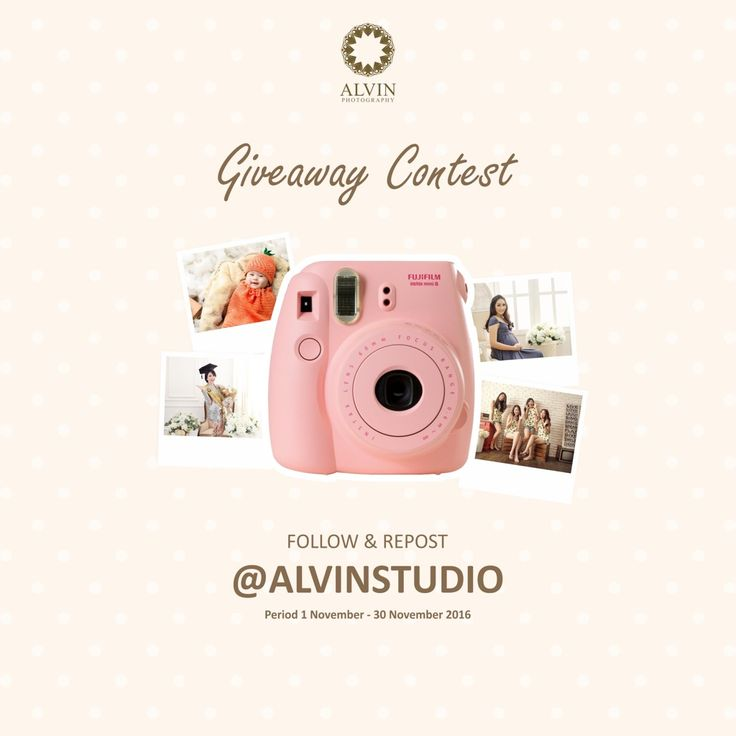 """Well hello my beloved customers!  It's time for Giveaway Contest 🎉🎊  Just follow @alvinstudio . . Repost and Tag our New Gallery @alvinstudio on this poster to your instagram from 1st until 30th November 2016!   The luckiest one will get the precious """"Fujifilm Instax Mini"""" 🎁📷  Follow, repost, and TAG it now! Good Luck 😊"""