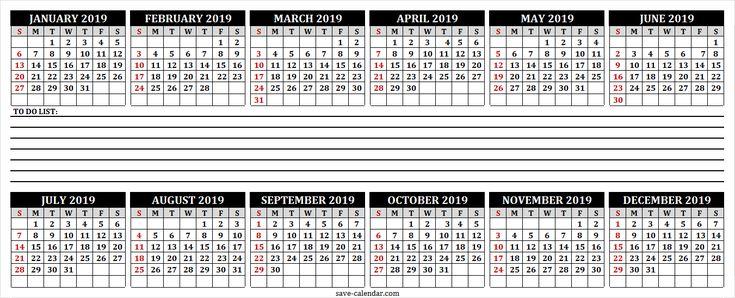 2019 Calendar to Print 2019 Calendar Pinterest Calendar