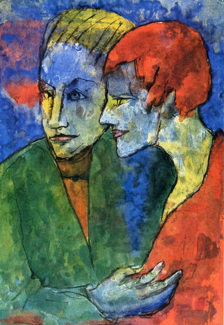 "podsteklom: "" Young couple. 1935. Эмиль Нольде (1967-1956) """