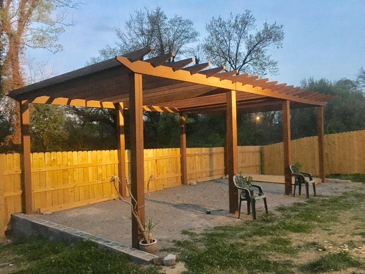 Tri Section Pergola Built 30 X 12 For Backyard Patio