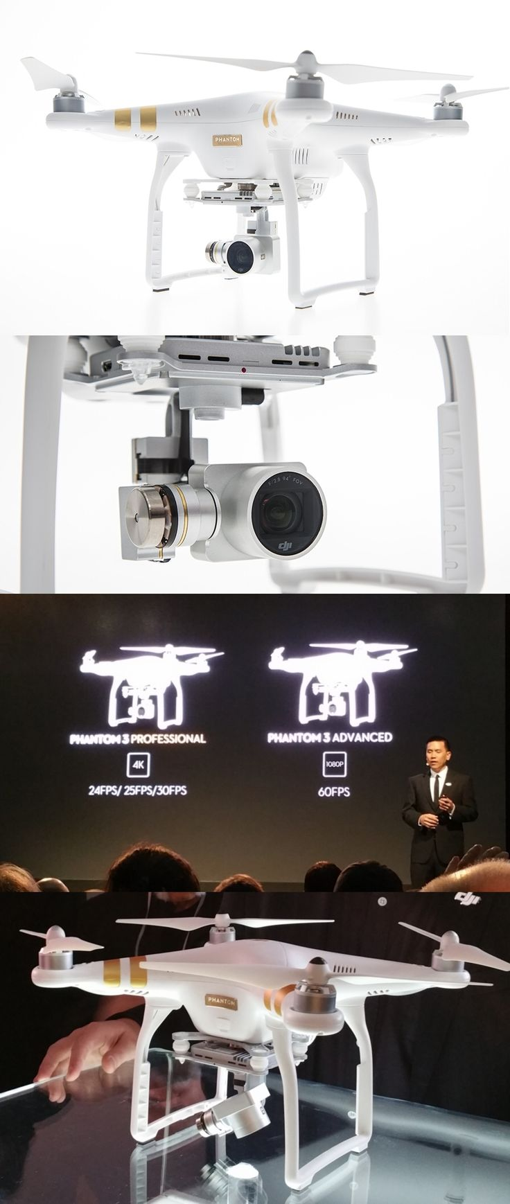 It's a bird! It's a plane. No, it's drone of course! The DJI Phantom 3 quadcopter, unveiled in NYC today, has a distortion-free 94-degree-field-of-view camera which renders smooth, sharp 30fps 4K ($1,259 Professional model) or 60fps 1080p ($999 Advanced) videos. The units take 12MP still photos and the DJI Pilot app integrates with YouTube, thus allowing users to livestream their aerial magic. If the 2.8-pound unit loses contact with its remote, it hovers in place until the next command.