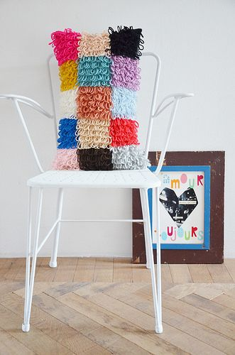 wood & wool patchwork pillow