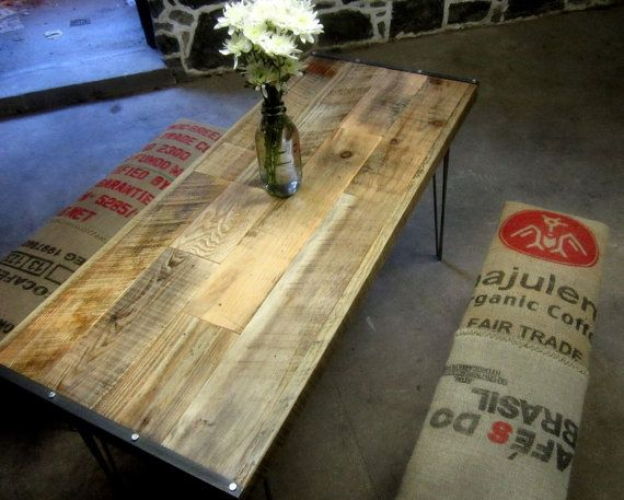 Reclaimed wood and recycled coffee sack dining set