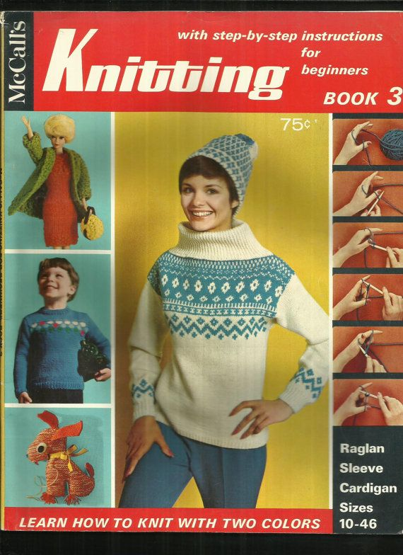 Vintage McCalls Knitting Magazine Book 3  Knitting projects from beginner to advanced knitters. Sweaters, Barbie Doll dress, coat, and luggage set,
