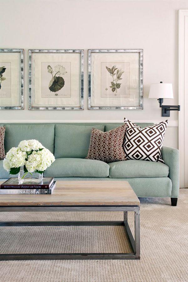 Sofá verde, Inspiração para a sala de estar e Design de interiores
