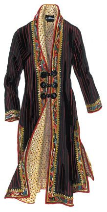 Lady K'abel Coat (No. 2522). Substantial cotton. Black with distinctive burgundy chalk stripe. Intricately woven gold, black, burgundy, and mulit-floral trim. Relaxed armholes for casual and easy fitting. Lining is yellow with red dots. You'll think of reasons to open it more often. Three frog closures, in black, another splendid accent.