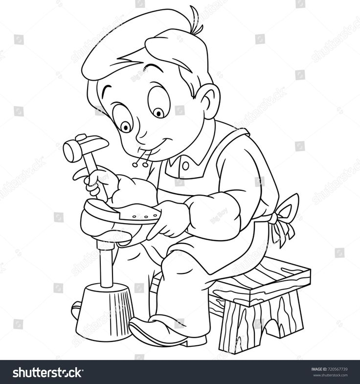 coloring page of shoemaker cobbler coloring book design for kids and children - Vintage Coloring Pages