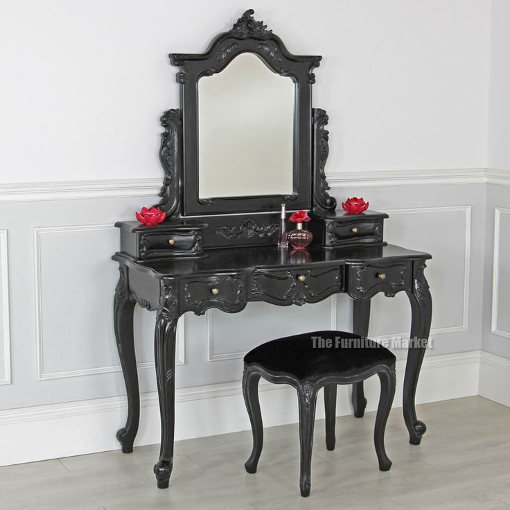 French noir black painted dressing table set with stool soon to be mine home interior - Black and white vanity stool ...