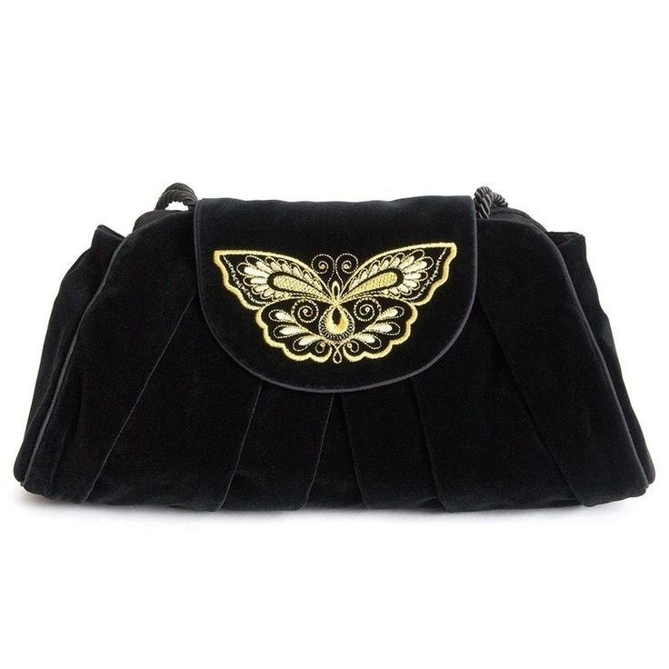 Бархатная женская сумка «Махаон» с золотой вышивкой   Торжокские золотошвеи