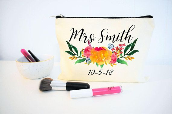 d0aad5efe070 Bride Makeup Bag, Bridal Gift, Personalized Wedding Gift, Bridal ...