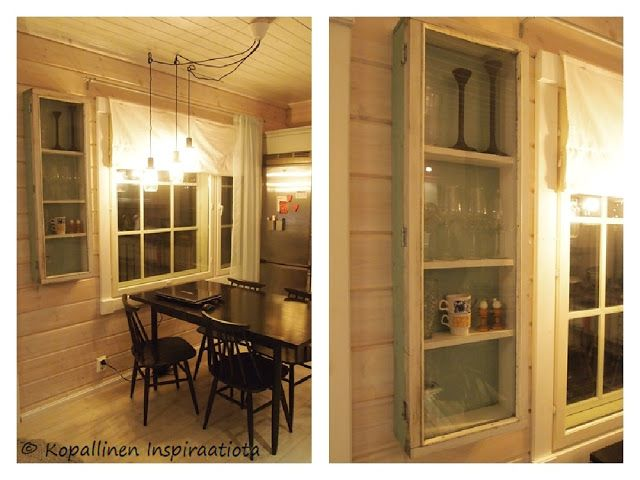 Kopallinen inspiraatiota - old window - recycle - vanha ikkuna - vitriini - vitrine - glass cabinet - showcase