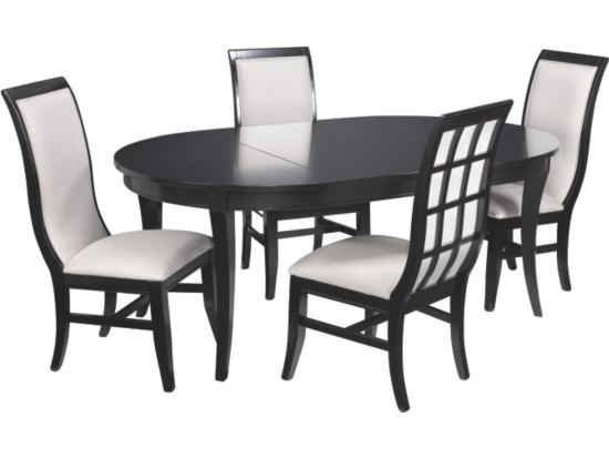 studio one black 5pc round table dining set value city furniture