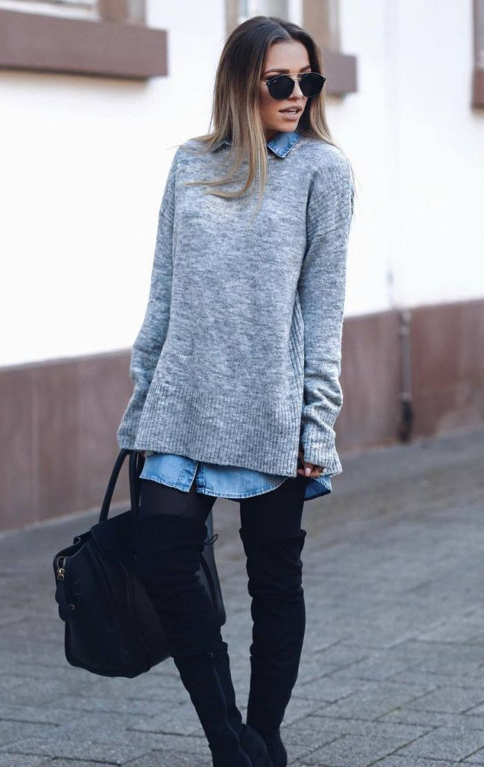 trendy outfit for spring 2019 | sweater denim dress bag black over knee bo…