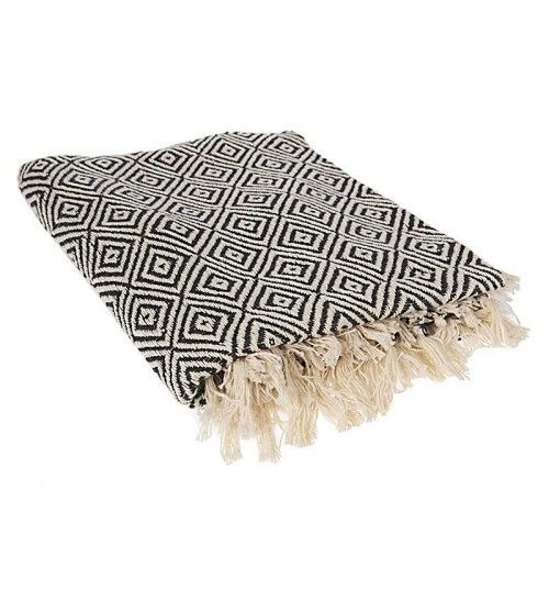 COTTON THROW IN BLACK AND WHITE COLOR  130X170