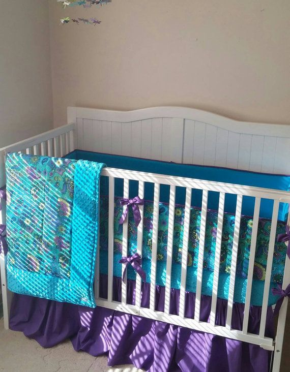 marvelous Peacock Baby Bedding Sets Part - 7: Peacock Paisley Crib Bedding Set by butterbeansboutique on Etsy