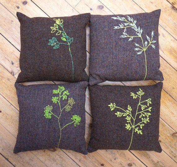 4 Harris Tweed cushion covers with embroidery of grasses and cotton backing, secured with a zip. Embroidery was made with Pure New Wool. Dimensions