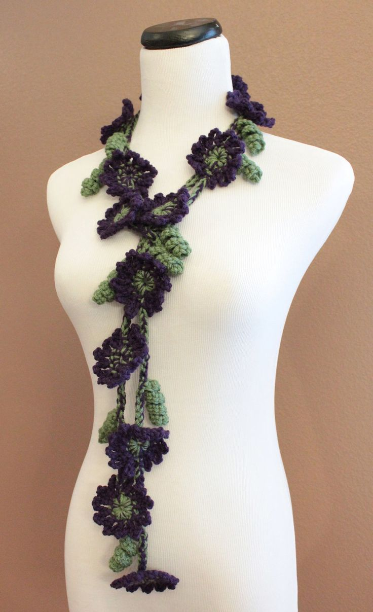 fashion scarves | ... , Flower Scarf, Flower Lariat, Purple and Green Scarf, Spring Fashion