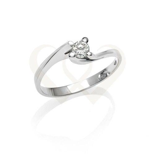 Fehér arany eljegyzési szoliter gyűrű gyémánt kővel. Gyémánt súlya 0,55 CT. // White gold engagement solitaire ring with 0,55 CT diamond.