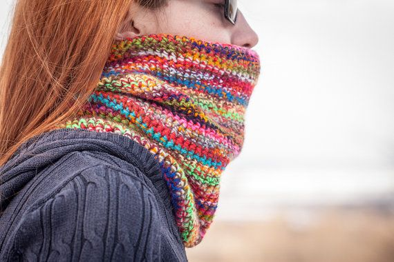 Multicolored Crochet Neck Warmer by RUKAMIshop on Etsy