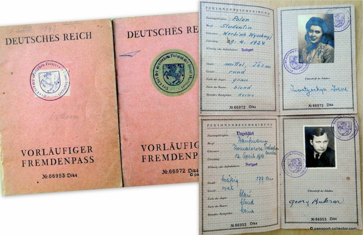 These are actually two temporary passports for aliens still on forms prepared during the Third Reich. The documents were issued just after end of the war and the infamous swastika was intentionally covered by the white or green labels.