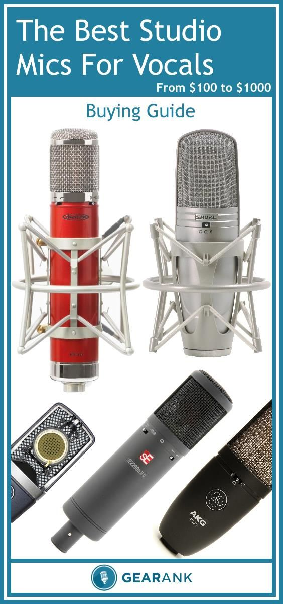 Detailed Guide to Vocal Studio Microphones. In addition to presenting the highest rated mics it also covers topics such as Diaphragm Type - Polar Pattern - Frequency Response - Pop Filters - Max SPL & Attenuation Pads - Power Source - Phantom Power - Value for Money.  See it now at https://www.gearank.com/guides/vocal-studio-mics