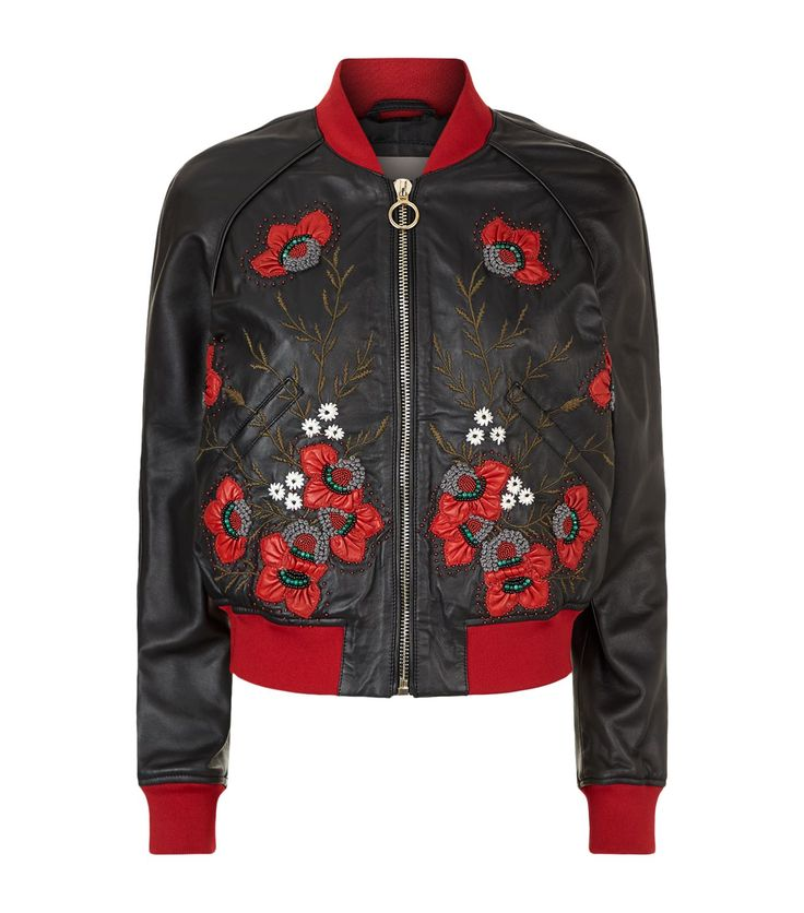 Pinko Embroidered Leather Bomber Jacket | Harrods.com