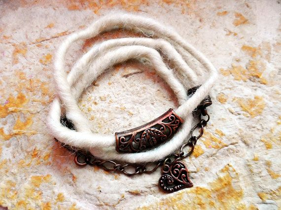 natural wool  bracelet nice gift idea heart by RasikaWorkshop