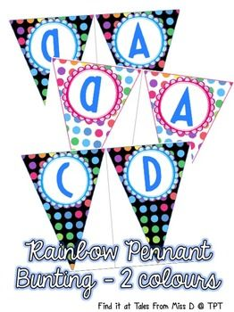 This rainbow bunting will brighten up your classroom and make your displays POP!  Simply print, laminate and hang!  This file comes as a .ZI...