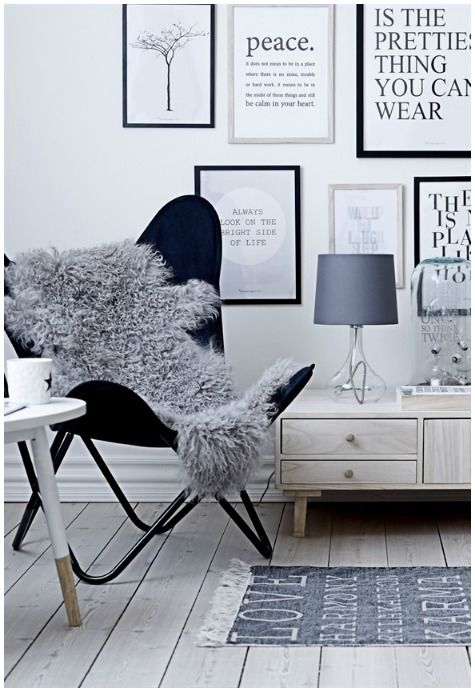 Simple color choice. Love the butterfly chair with the sheepskin.