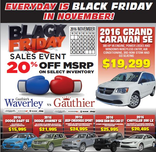 Everyday is Black Friday this month at Waverley!   Start looking for your great deal today!  www.waverleychrysler.ca 204-661-5337 1700A Waverley St. Winnipeg, MB