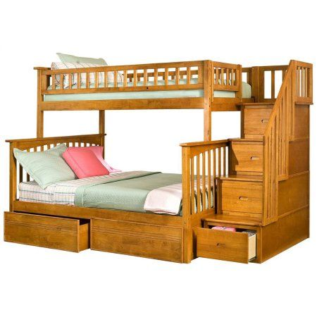 atlantic furniture columbia twin over full stairway bunk bed - Einfache Hausgemachte Etagenbetten