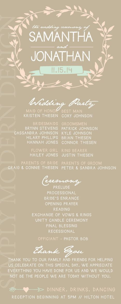 rustic wedding ceremony program floral by xSimplyModernDesignx