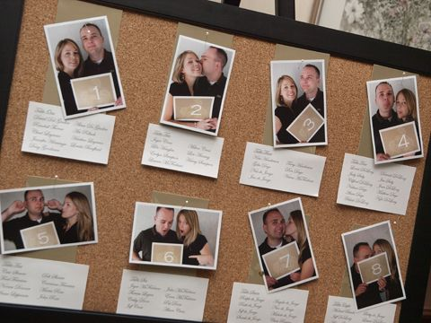 I love this idea! Seating chart made using photos of the couple holding a sign that shows the table number. Everything is pinned to a framed cork board.
