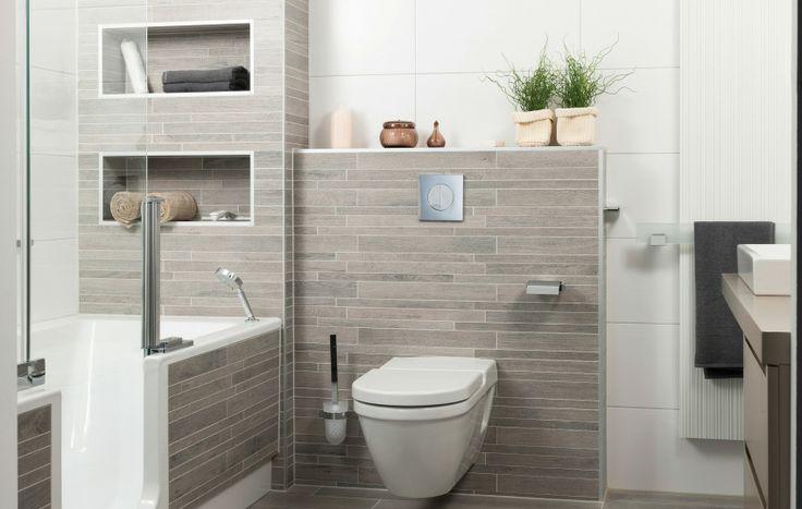 Novae  Van deze badkamer krijgt u direct een goed gevoel. Uiterst praktisch met een bad, voorzien van douchedeur. Hierdoor is dit een douche en bad in één. Het badmeubel is greeploos uitgevoerd. Nisjes zijn toegevoegd, deze kunt u zowel praktisch als gezellig inrichten.