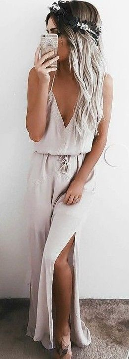#summer #musthave #outfits | Nude Maxi Dress