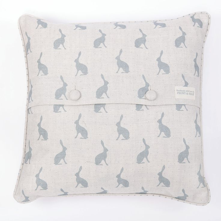 Mini Hares Duck Egg Blue Cushion by Peony & Sage