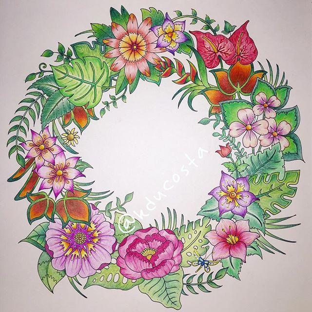 Magical Mandala from Magical Jungle Coloring Book. #artoftheday #adultcoloringbook #adultcoloring #becreative #coloringforadults #coloringbook #colorindolivrostop #coloring #design #drawing #boracolorirtop #livrocoloriramo #flowers @johannabasford #livrodecolorir #mandala #mandalaart #flowermandala #guirlanda #zentangle #magicaljungle #selvamagica