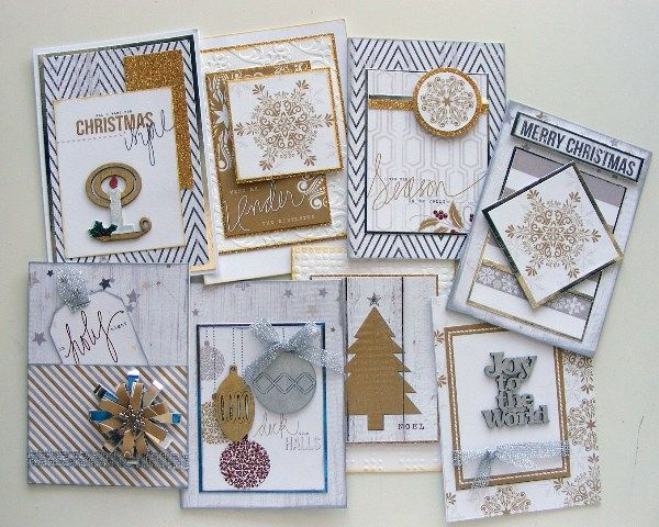 Silver & Gold Christmas Cards created with Teresa Collins, Tinsel & Co Collection by Rosemary for My Scrappin' Shop.