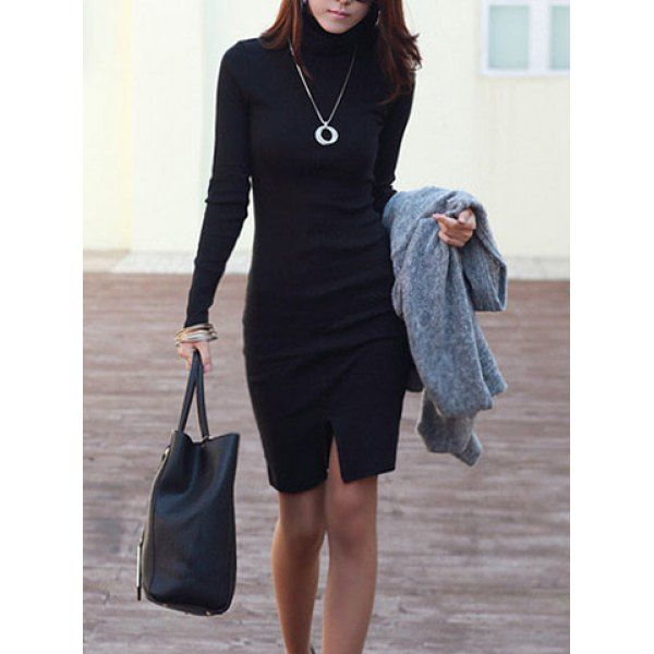 Ladylike Highneck Solid Color Long Sleeves Women's Bodycon Dress, BLACK, M in Long Sleeve Dresses | DressLily.com