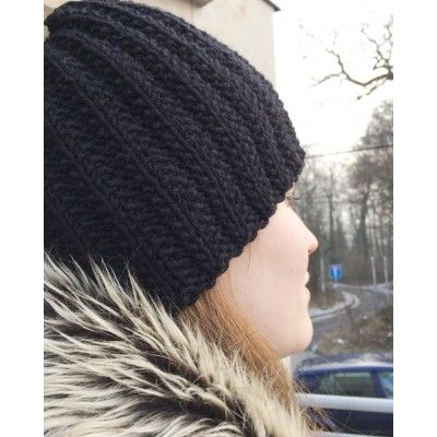 Hand-Knitted Cap - Black