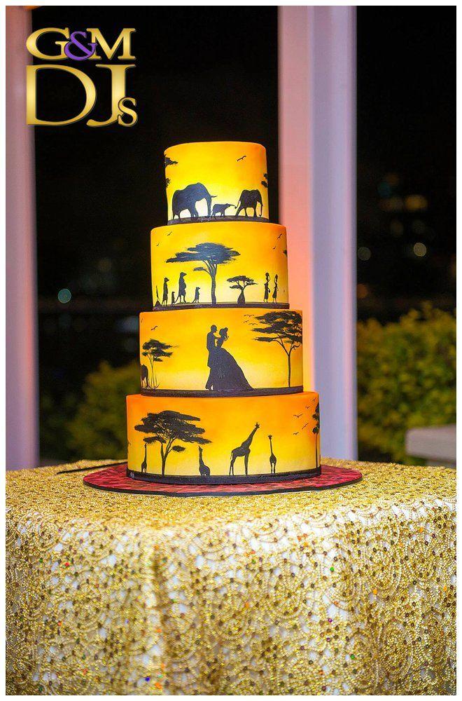 The Landing at Dockside Brisbane Wedding - Barbra & Jason's African Wedding Cake | G&M DJs | Magnifique Weddings #gmdjs #magnifiqueweddings #weddinglighting #weddingdjbrisbane @gmdjs