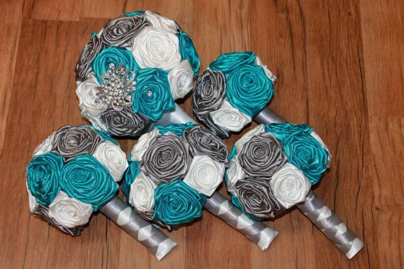 Turquoise, Grey, & White Wedding Bouquets by Hey Bouquet ~ turquoise brooch…