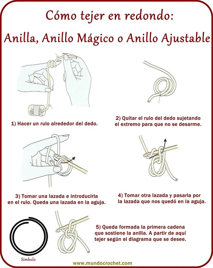 Anilla, anillo ajustable o anillo mágico - Adjustable ring, magic ring - ✿⊱╮Teresa Restegui http://www.pinterest.com/teretegui/✿⊱╮