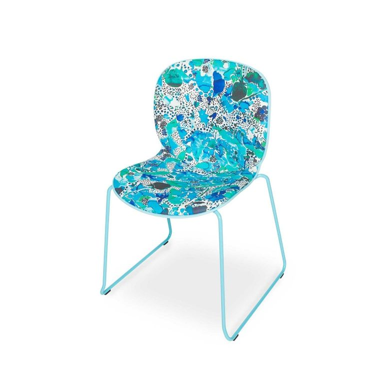 RBM Noor chair x La Cueillette in Aqua |Sledge by Claire de Quénetain | FEATHR™    Featuring La Cueillette fabric, a stunning and beautiful modern floral fabric, that brings the vibrancy of the French harvest to your home.