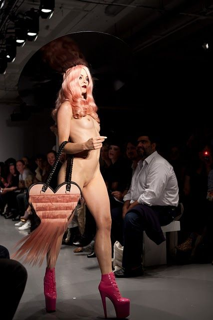 Danielle Foster: Pink hairy bag on the catwalk