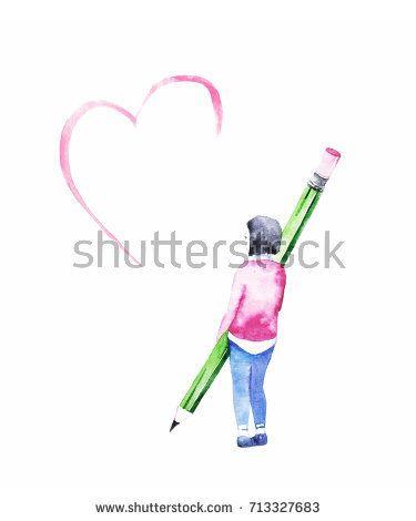 Cute little girl draw a heart. Watercolor greeting card.  @knyshksenya #illustration #illustrator #ksenyaknysh #watercolor #girl #heart #card #greeting #nature #illustration #art #mothersday #valentine