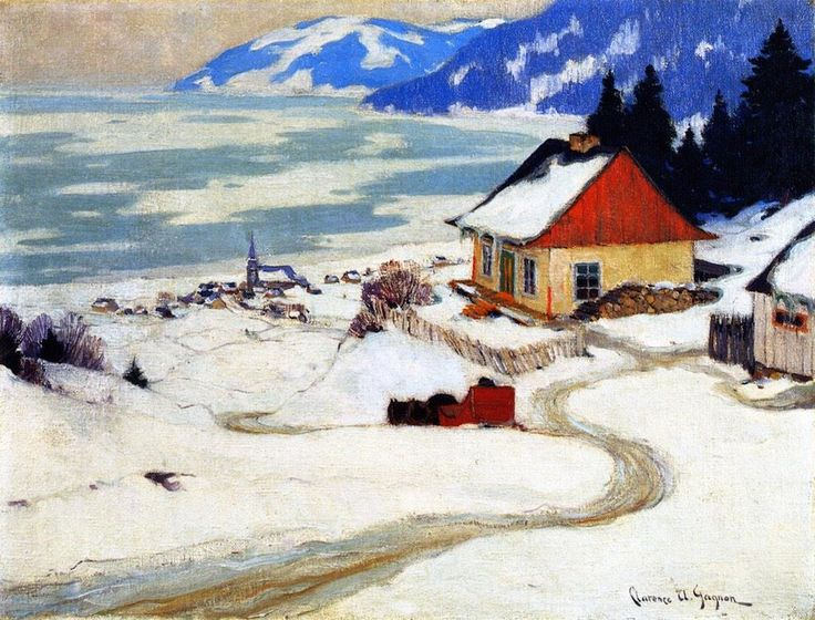 'The Red Sleigh' (also known as 'Red Sleigh Going over the Hill') Clarence Gagnon, c.1924-1925 #art Follow the biggest painting board on Pinterest: www.pinterest.com/atelierbeauvoir