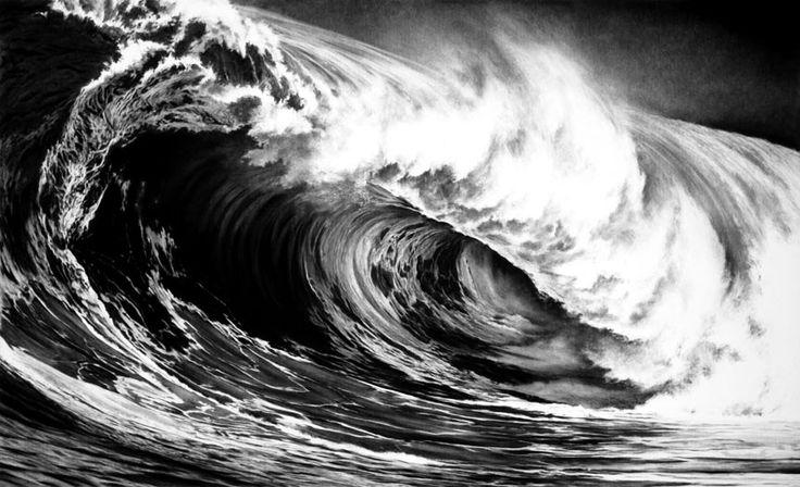 Волны, нарисованные углем